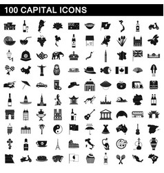 100 capital icons set simple style vector