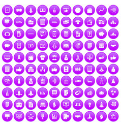 100 startup icons set purple vector