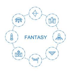 8 fantasy icons vector