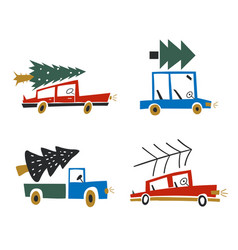 a car with christmas tree on roof christmas vector image