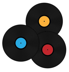 A collection phonograph records vector