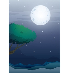 A moonlight scenery vector