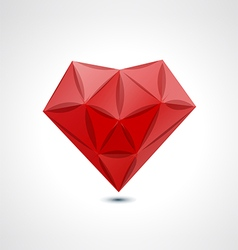 Abstract red geometric crystal heart vector