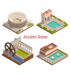 Ancient rome isometric set vector