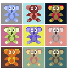 Assembly flat icons koala toy vector