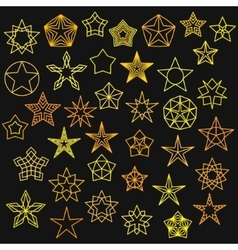 Big Set of Monoline Star Icons vector image