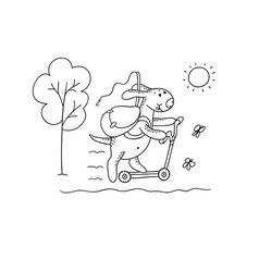 Black-white sketch funny cartoon puppy vector