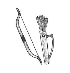 Bow quiver with arrows sketch vector