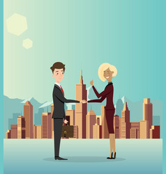 Business men cooperate about business in the city vector