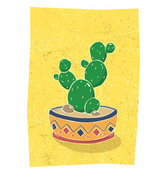 cactus in hand drawn flower pot vector image