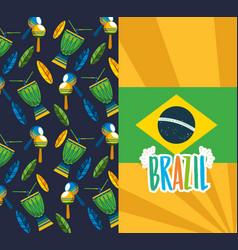 Canival rio brazilian celebration with flag vector