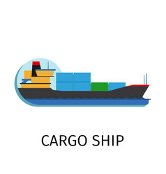 Cargo ship in flat style vector
