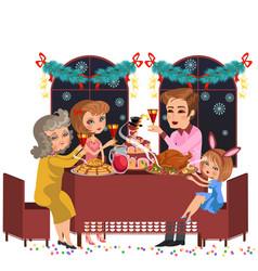Cartoon family celebrating holiday with tasty vector