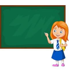 Cartoon schoolgirl in uniform writing vector