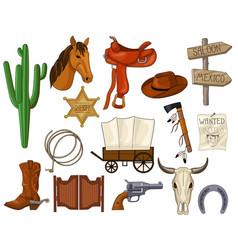 cartoon set of wild west accessories vector image