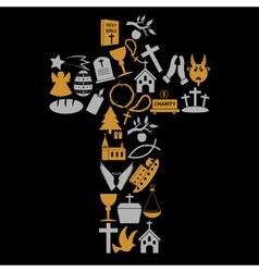 Christianity religion symbols in big cross eps10 vector