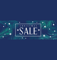 christmas sale banner with fir and snowflakes vector image