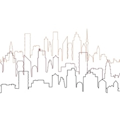 City view with skyscrapers cityscape silhouette vector
