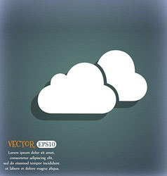 clouds icon On the blue-green abstract background vector image