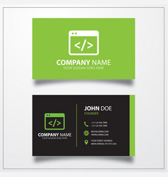 Coding icon business card template vector