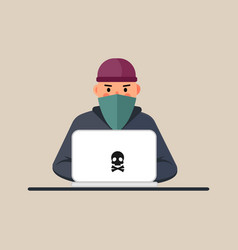 computer hacker spread a net - isolated vector image