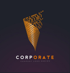 corporate abstract logo with gold shattered vector image