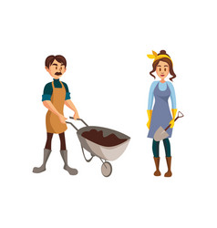 Couple of gardeners man with wheelbarrow of earth vector