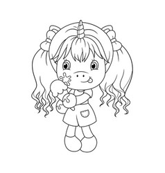Cute baby unicorn holding ice cream coloring page vector