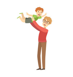 dad throwing little son in the air vector image