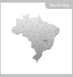 Detailed map of the brazil vector
