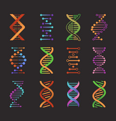 Dna icons biochemistry researching laboratory vector