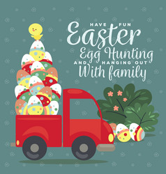 easter car with truck full of decorated eggs vector image
