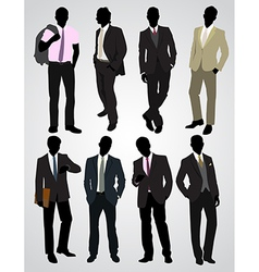 Eight businessman silhouettes vector