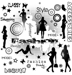 Fashion advertisement with women silhouettes vector image