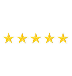 five stars quality or rating product on white vector image