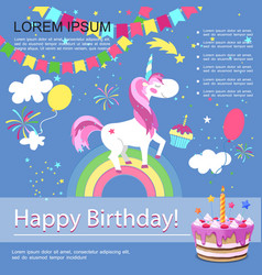 flat happy birthday colorful template vector image