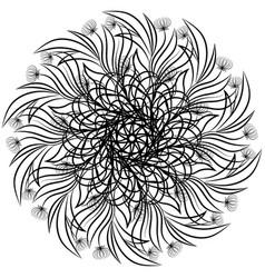 floral ornamental mandala round ornament black vector image