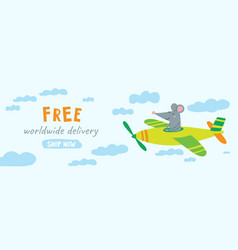 Free delivery website banner with cute rat vector