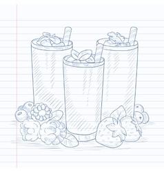 Fresh berries smoothies vector image