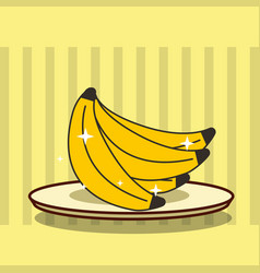 fresh fruit tasty cluster banana on dish vector image