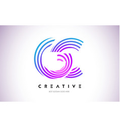 Gc lines warp logo design letter icon made with vector