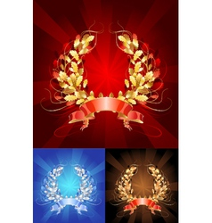 golden oak wreath vector image