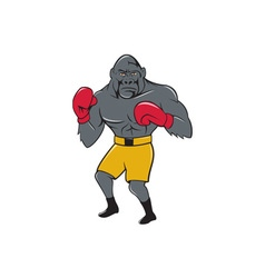 Gorilla Boxer Boxing Stance Cartoon vector