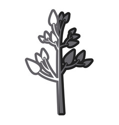 Grayscale thick silhouette of tree with leafs vector