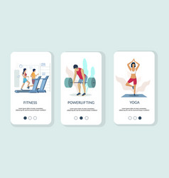 gym mobile app onboarding screens template vector image