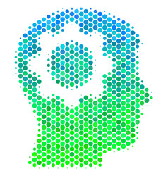 halftone blue-green intellect gear icon vector image
