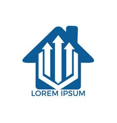 house arrow up business logo design vector image