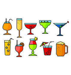 Icon set with alcohol cocktails thin simple line vector