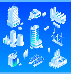 Intelligent building icon set isometric style vector