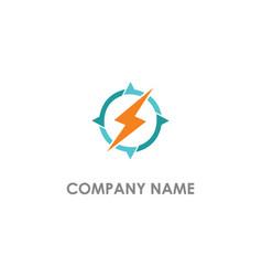 light bolt electric round circle logo vector image